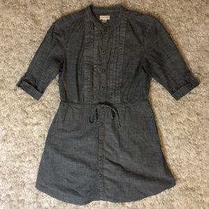 Monteau Gray Chambray Shirtdress/Tunic, Size Small